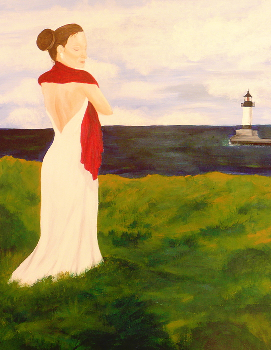 Woman Painting - Lady At The Ocean by Jennifer Hernandez
