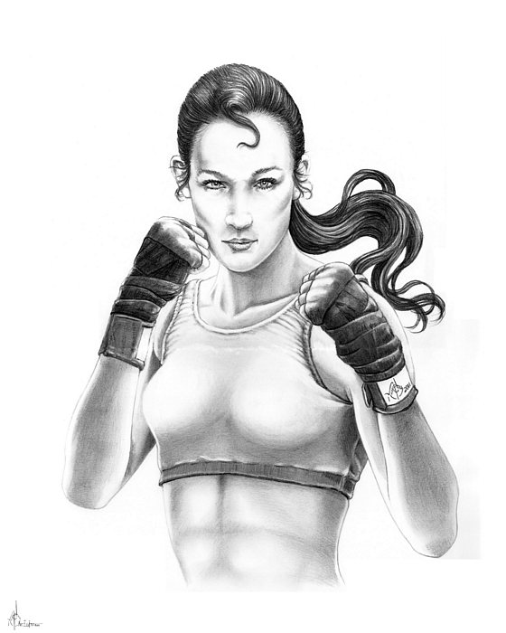 Drawing Drawing - Lady Boxer by Murphy Elliott