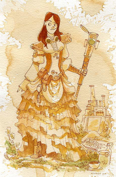Steampunk Painting - Lady Codex by Brian Kesinger
