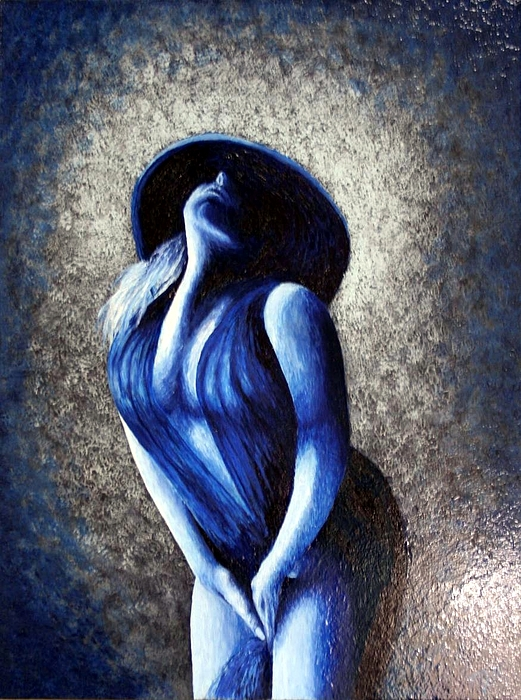 Lady In Blue Painting by Monty Perales