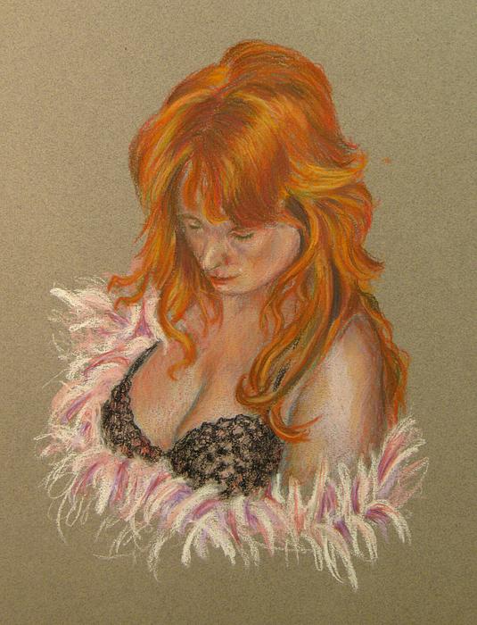 Pastel Pastel - Lady In Lace by John Entrekin
