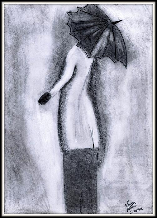 Lady Drawing - Lady In Rain by Gaurav Patwari