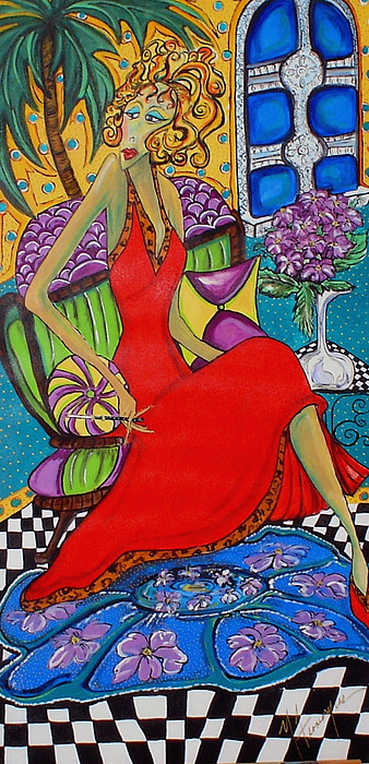 Figurative Painting - Lady In Red by Yvonne Feavearyear