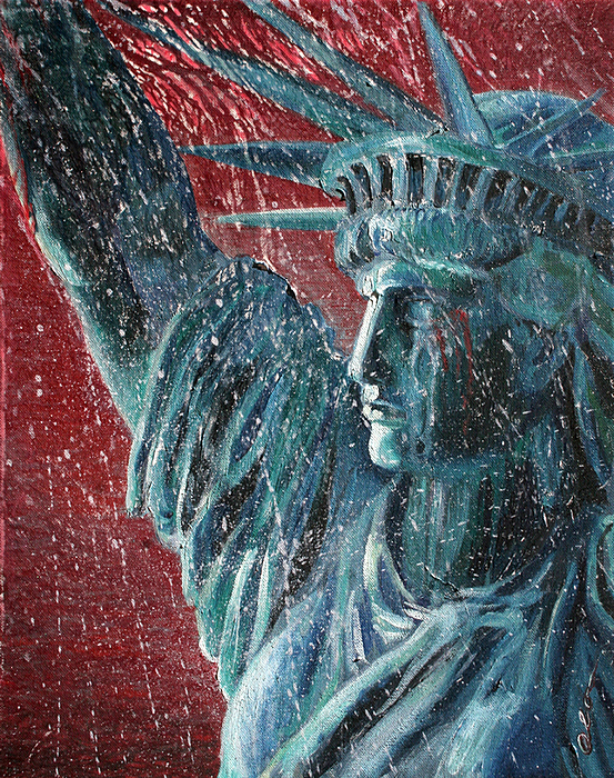 Lady Liberty Painting - Lady Liberty In The Rain by Alan Schwartz