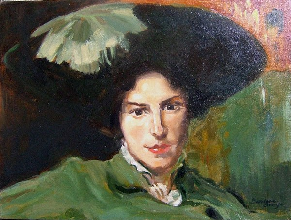Green Hat Painting - Lady With The Green Hat by Darlene LeVasseur