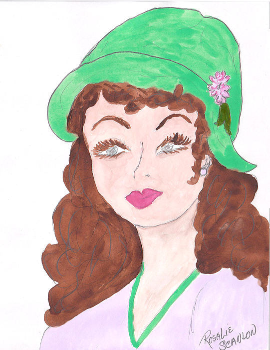 Drawing Drawing - Lady With The Green Hat by Rosalie Scanlon