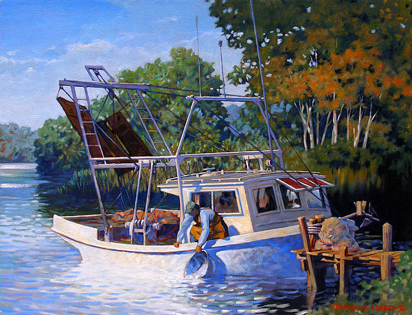 River Painting - Lafitte Skiff by Kevin Lawrence Leveque