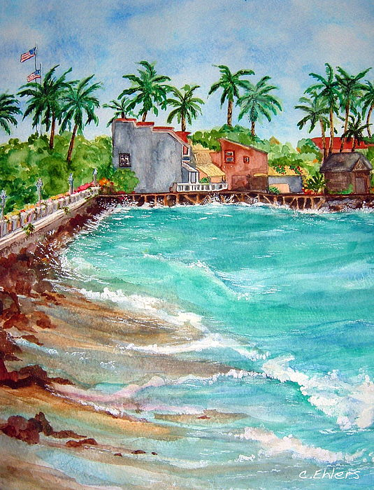 Waterscape Painting - Lahina Bay Maui by Cheryl Ehlers