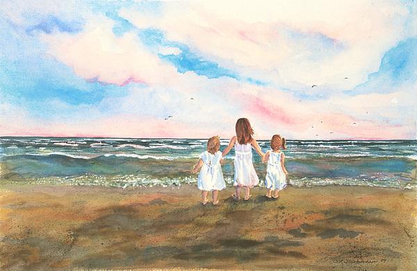 Little Girls Painting - Lake Angels by Sandra Strohschein