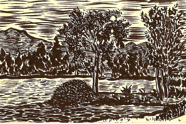 Lake Drawing - Lake Leek by Al Goldfarb