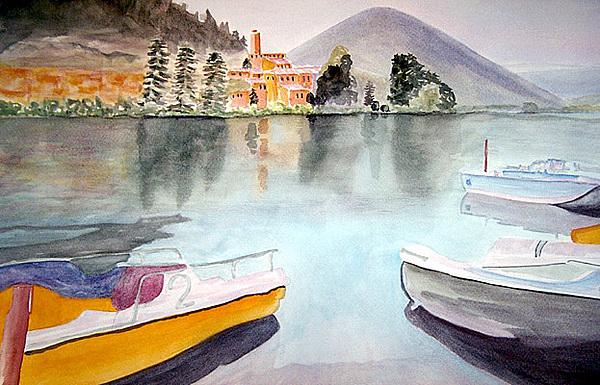 Lake Painting - Lake Piediluco Italy by Tom Herrin