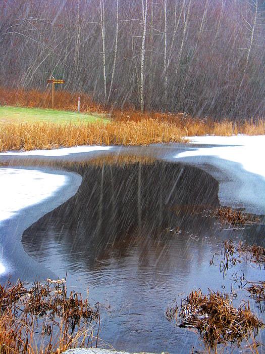 Lake Photograph - Lake Rain And Snow by Darryl  Kravitz