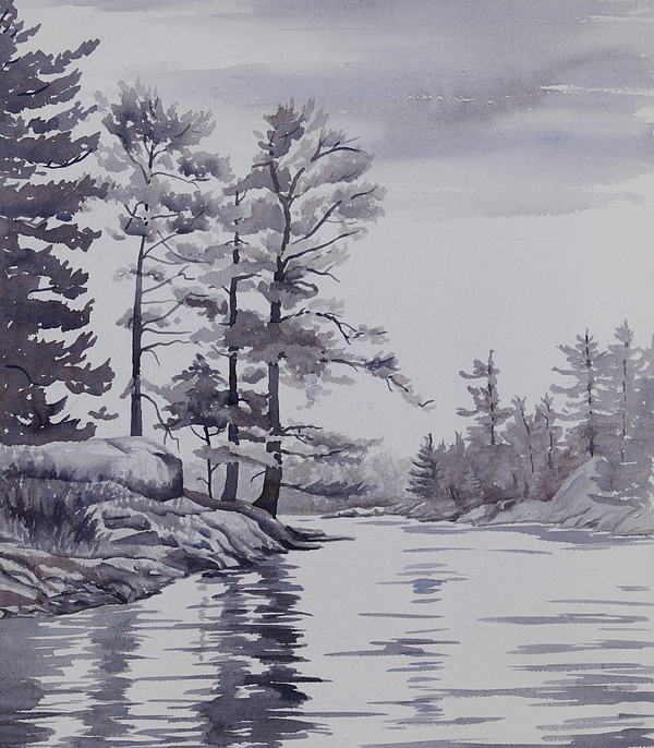 Lake Painting - Lake Reflections Monochrome by Debbie Homewood