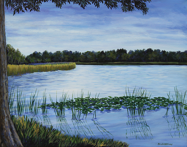 Lake Painting - Lake Tarpon Shoreline On A Cloudy Day by Penny Birch-Williams