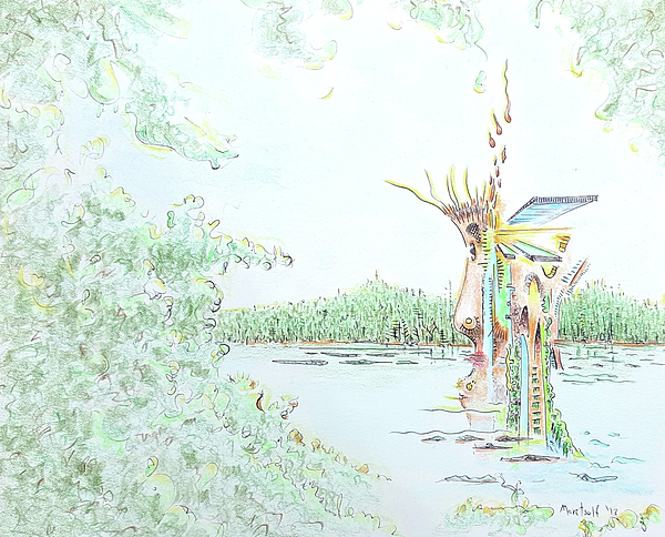 Lakeside Drawing - Lakeside by Dave Martsolf