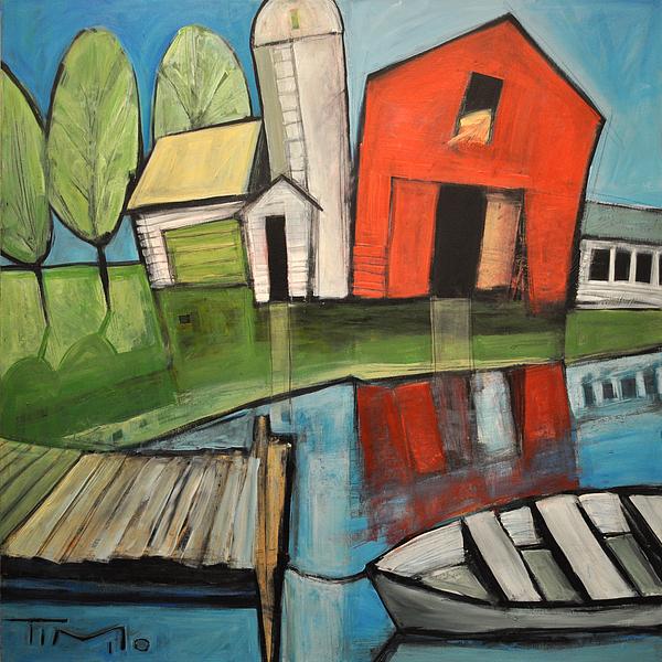 Farm Painting - Lakeside Farm by Tim Nyberg
