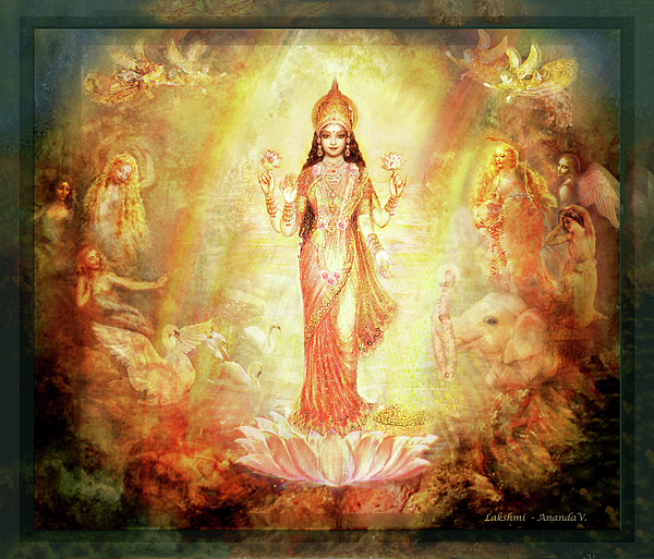 Goddess Painting Mixed Media - Lakshmi With Angels And Muses 1 by Ananda Vdovic