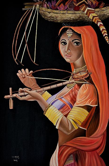 People Painting - Lambani Girl by Usha Rai