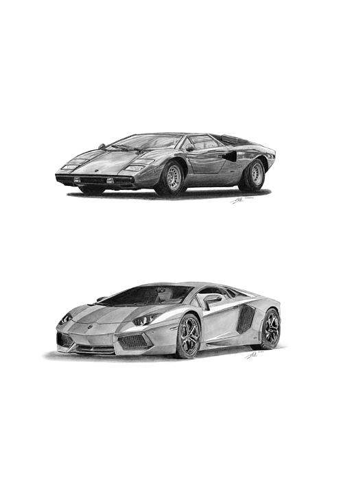 Car Drawing - Lamborghini Lp V12 Duo by Gabor Vida