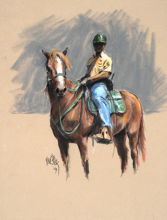 Lance With National Park Service Volunteer Aboard Painting by Paul Miller