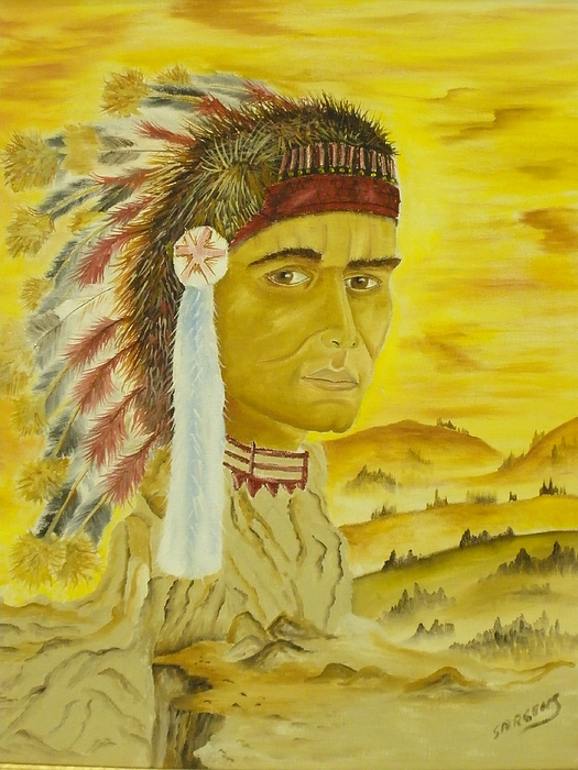 Native Painting - Land Warrior by Ron Sargent