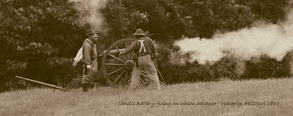 Sepia Photograph - Landis Battery Firing On Union Advance by David Dunham