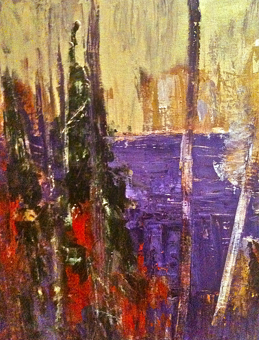 Landscape Painting - Landscape Abstract In Purple by Mary-Lynn Bastian