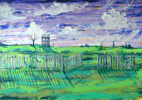 Landscape Painting - Landscape With Fence by Rollin Kocsis