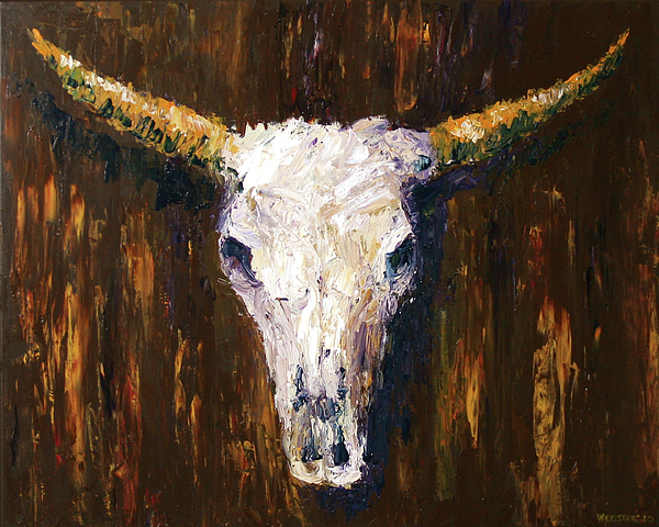Abstract Painting - Large Cow Skull Acrylic Palette Knife Painting by Mark Webster