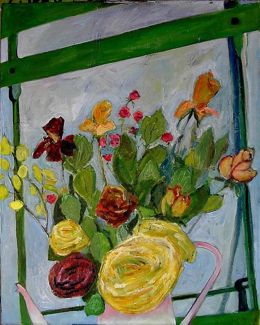 Roses Painting - Large Roses In Green Chair by Cassandra Einstein