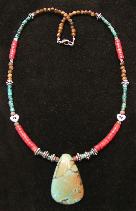 Cowgirls Jewelry - Large Turqouise And Coral Cowgirl Necklace by Kim Souza