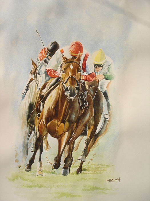Horse Painting - last Turn To Victory by Sabrina Siga