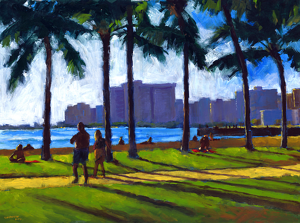 Beach Painting - Late Afternoon - Queens Surf by Douglas Simonson