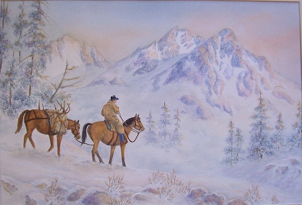 Western Painting - Late Hunt - In The Sawtooth Mountains by Cherry Woodbury