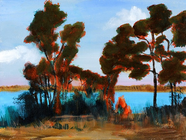 Nature Painting - Late Summer Lake by Susan Boyes