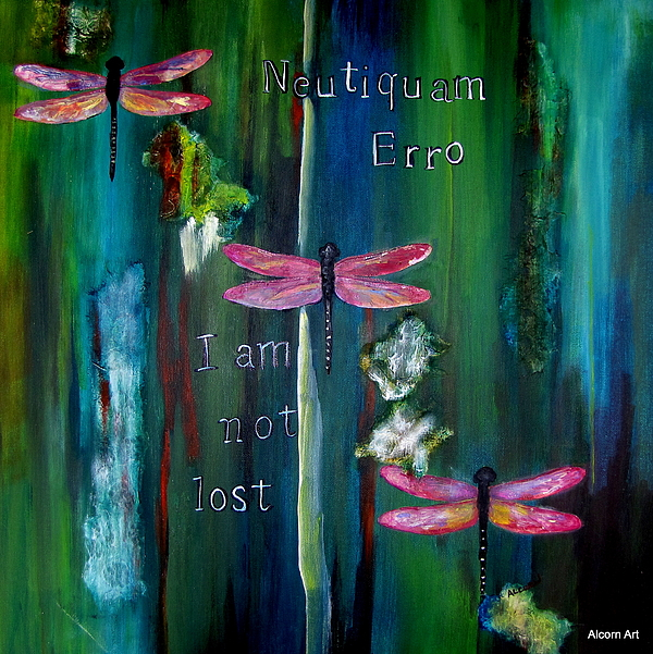 Dragonfly Painting - Latin I Am Not Lost by Brenda Alcorn