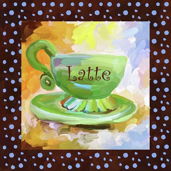 Coffee Painting - Latte Coffee Cup With Blue Dots by Jai Johnson