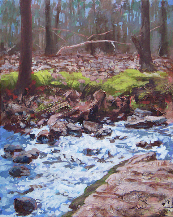 Forest Painting - Laughing Stream In Winter by Carol Strickland