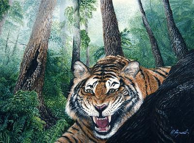 Laughing Tiger Painting by Pravit Rojawat