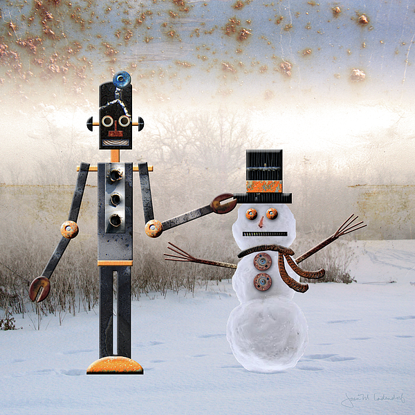 Robot Photograph - Laurence Builds A Snowman by Joan Ladendorf