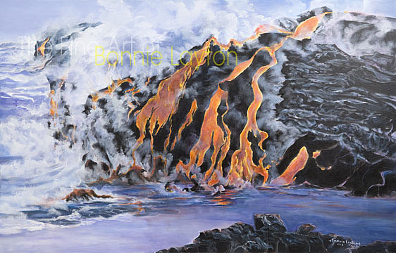 Lava Going In To The Ocean Print by Bonnie  Layton