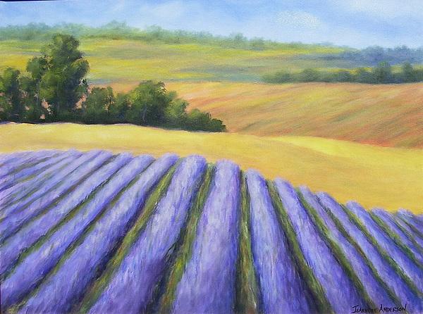 Purple Painting - Lavender Fields by Jeannene Anderson