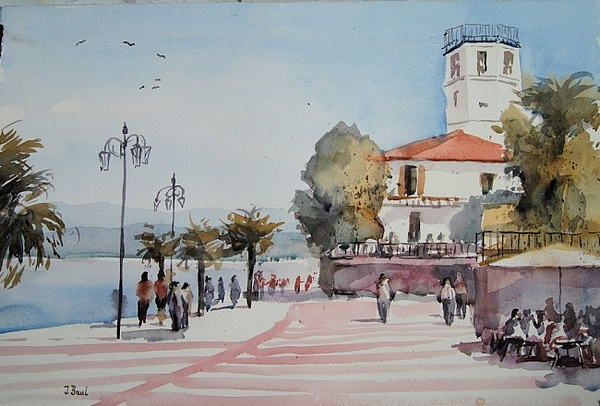 Lazise Am Gardasee Painting by Johannes Baul
