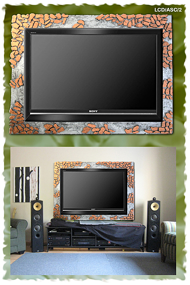 Lcd Plasma Tv Background With Wooden Frame Stone Effect Painting by ...