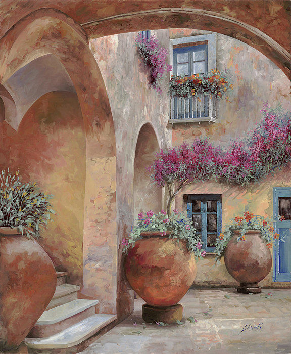 Arcade Painting - Le Arcate In Cortile by Guido Borelli