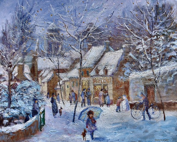 Winter Painting - Le Cafe Breizh A Warm Welcome In The Winter Snow by Jeanette Leuers