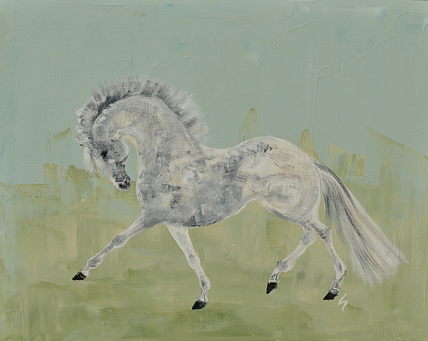 Grey Horse Painting - Le Gris Cheval by Liz Pizzo