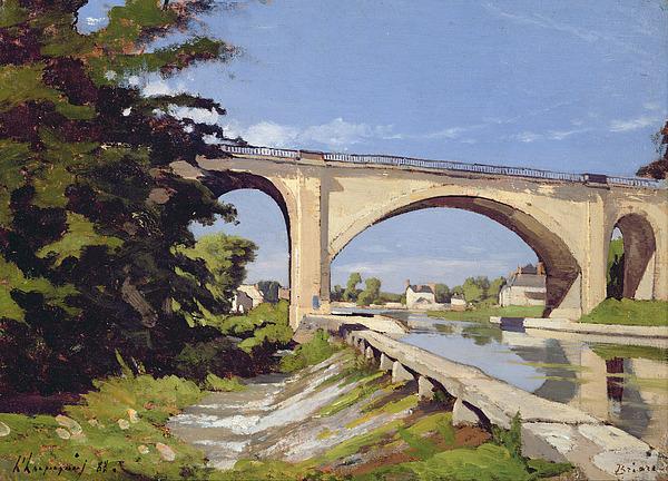 Pont Painting - Le Pont Canal A Briare by Henri Joseph Harpignies