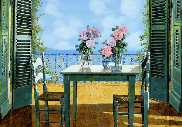 Terrace Painting - Le Rose E Il Balcone by Guido Borelli