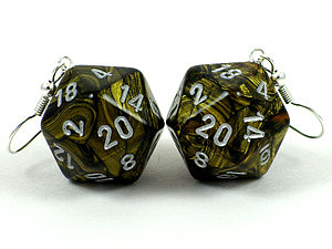 Dice Jewelry - Leaf Black With Gold D20 Earrings by World of Dice